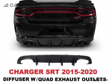 DODGE CHARGER Quad Exhaust Rear Diffuser Unpainted Plastic | CM-CH15RDFQDPL buy carmarka.com
